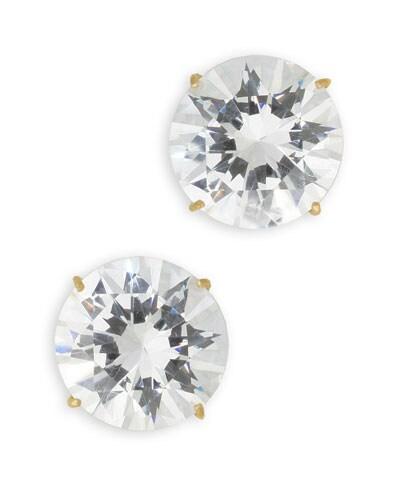 14k Yellow Gold 2ct TW Cubic Zirconia Stud Earrings