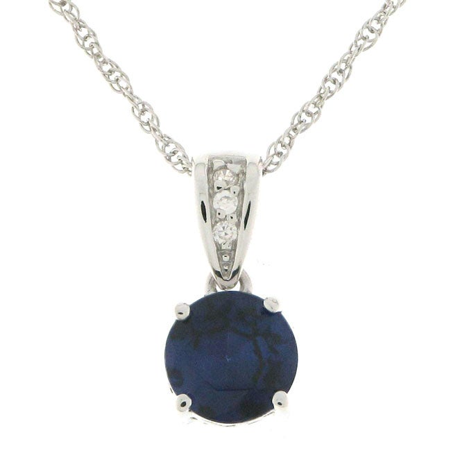 Charles Winston Solitaire Created Sapphire Necklace