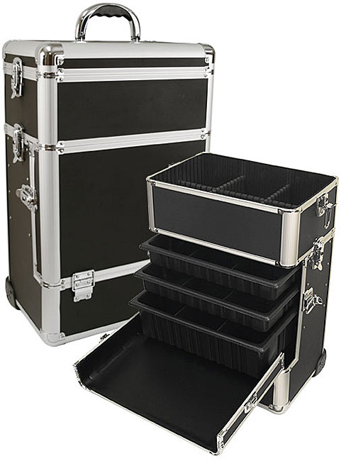 Large Black Rolling Makeup Case with Drawers