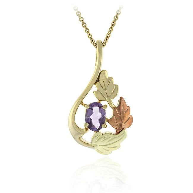 Glitzy Rocks 18k over Sterling Silver Leaf Amethyst Pendant