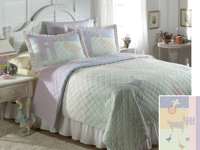 Shop barnyard applique quilt set free shipping today overstock