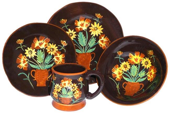 English Sunflower Hand Painted 16 Piece Dinnerware Set Free Shipping