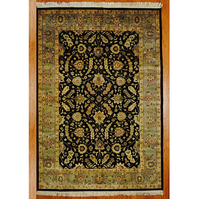 Indo Mahal Handknotted Rug Black/Light Brown (5' x 8')