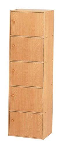 Natural 5-tier Storage Cubbies with Doors