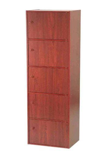 Mahogany 5-tier Storage Cubbies with Doors