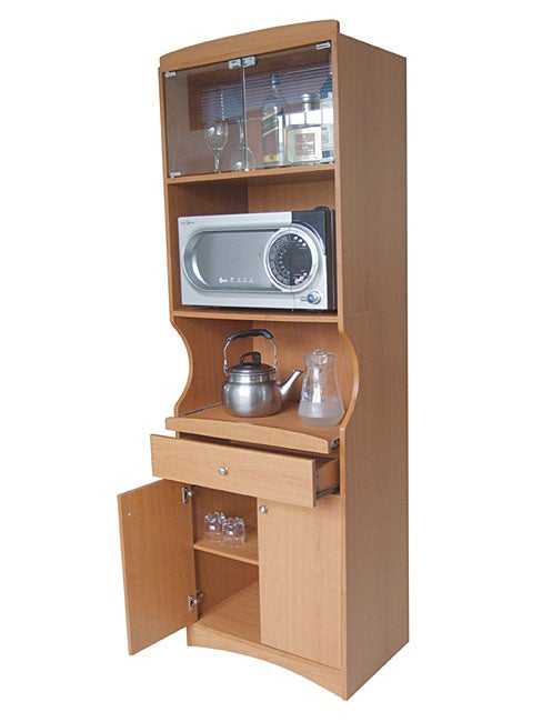 Cherry Finish Tall Microwave Cabinet