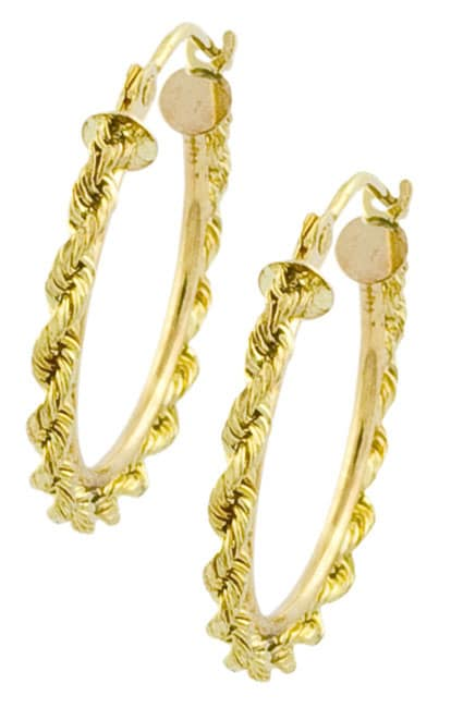 14k Yellow Gold Rope Hoop Earrings