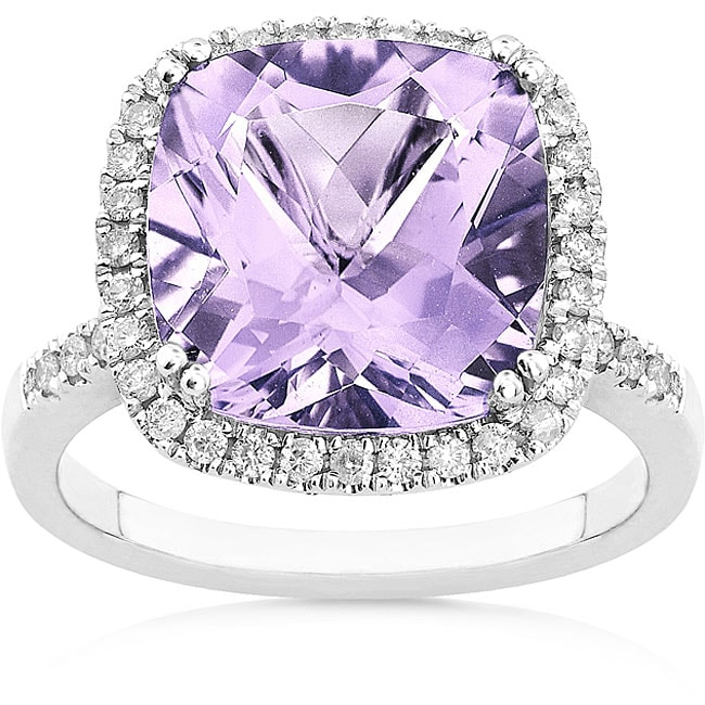 Annello by Kobelli 14k White Gold Amethyst 1/3ct TDW Diamond Ring