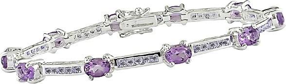 Miadora Amethyst and Tanzanite Silver Bracelet