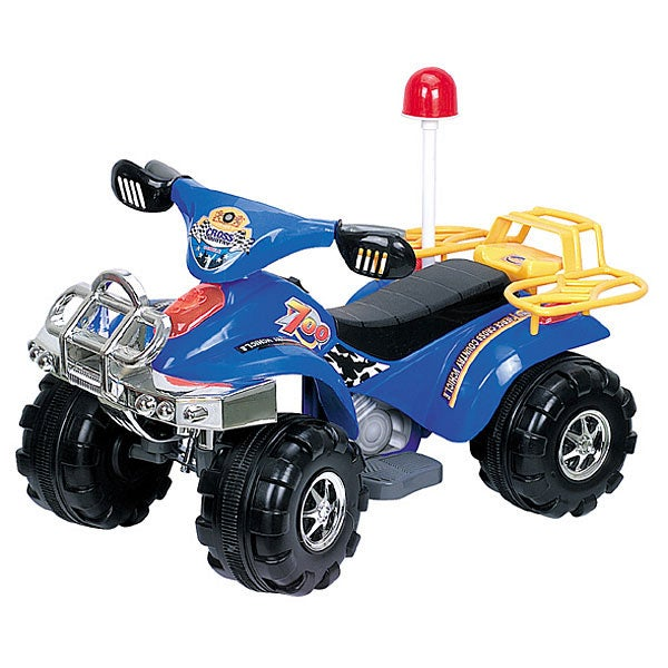 Blue Battery Operated Police Atv 4 Wheeler Free Shipping
