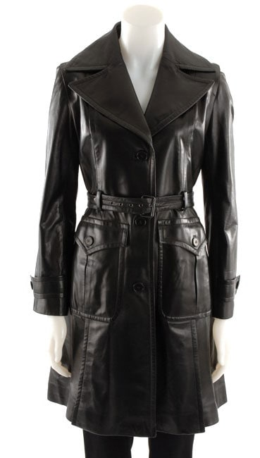 DKNY Women's Belted Leather Trench Coat