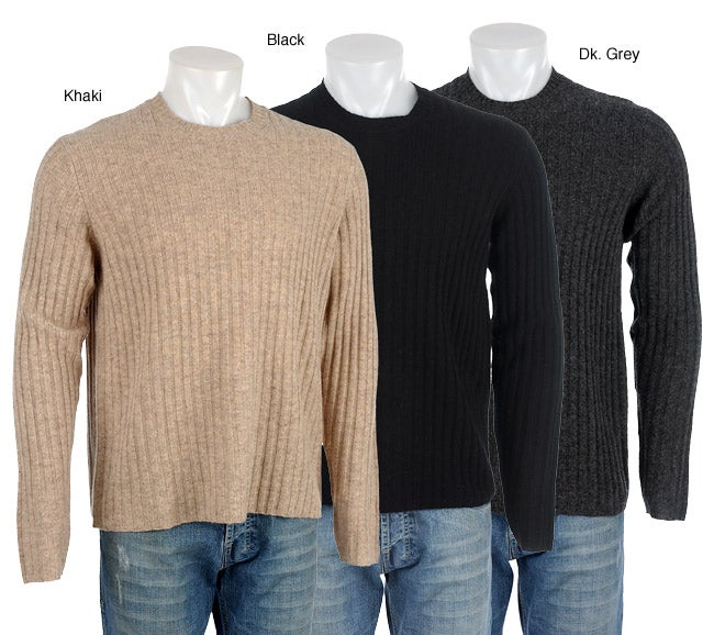 Next Men's Ribbed Wool Crew Neck Sweater