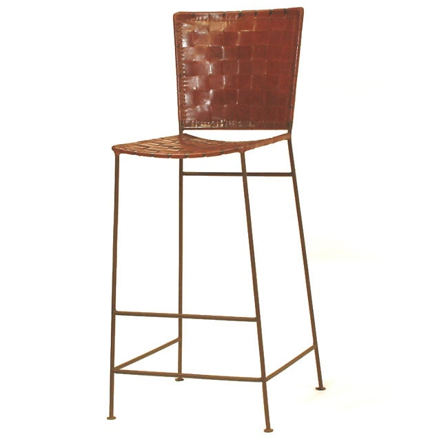 Handcrafted Leather and Iron Barstool (Set of Two) (India)
