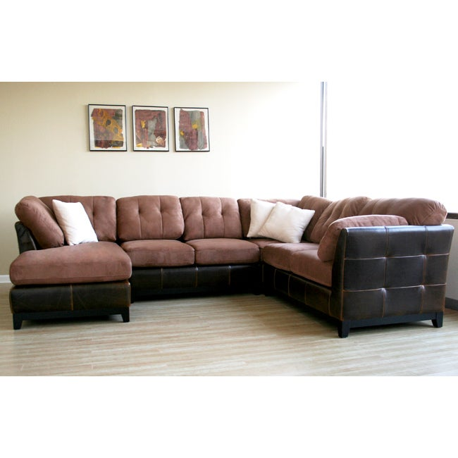 Aldan brown bi cast leather microfiber 4 piece sofa set for 4 piece sectional sofa microfiber