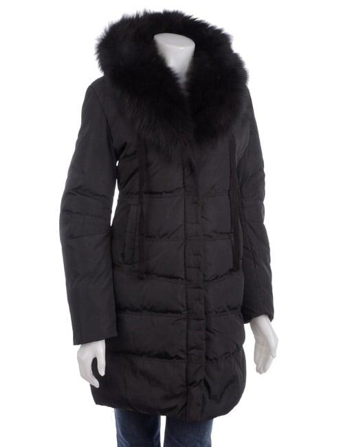 Tahari Women's Barbara Fox Fur Collar Down Coat
