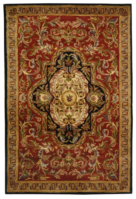 Safavieh Handmade Classic Royal Red/ Black Wool Rug (5' x 8')