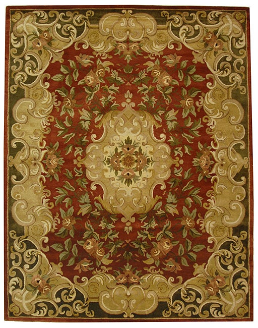Safavieh Handmade Classic Juliette Rust/ Green Wool Rug - 8'3 x 11'