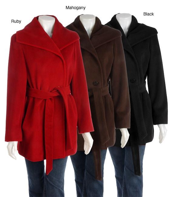 Ellen Tracy Wool Angora Pea Coat