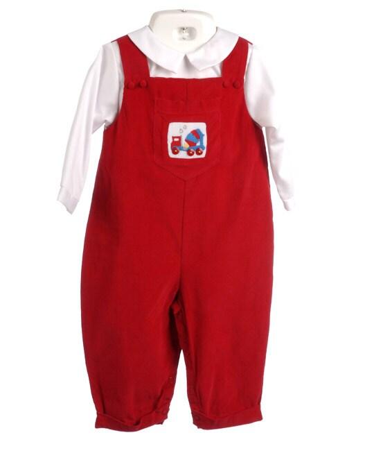 Petit Ami Infant Boy Red Longall Set