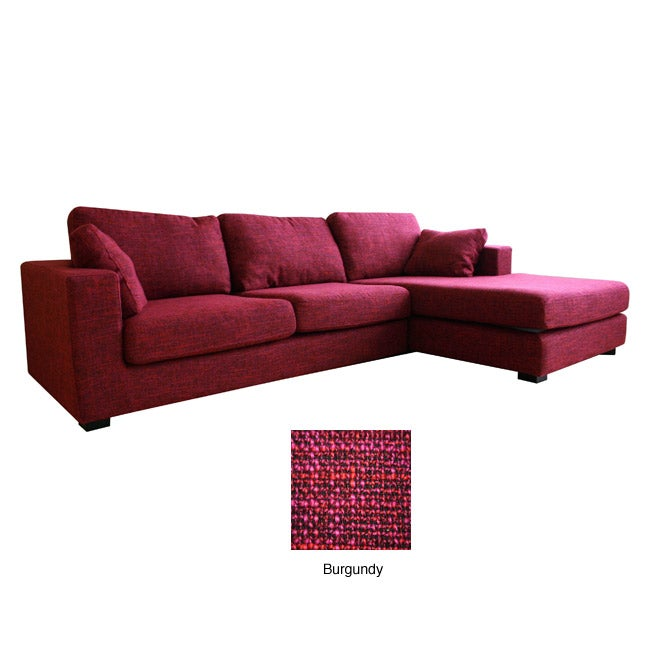 Berenice burgundy chenille sofa and chaise 2 piece set for Burgundy leather chaise