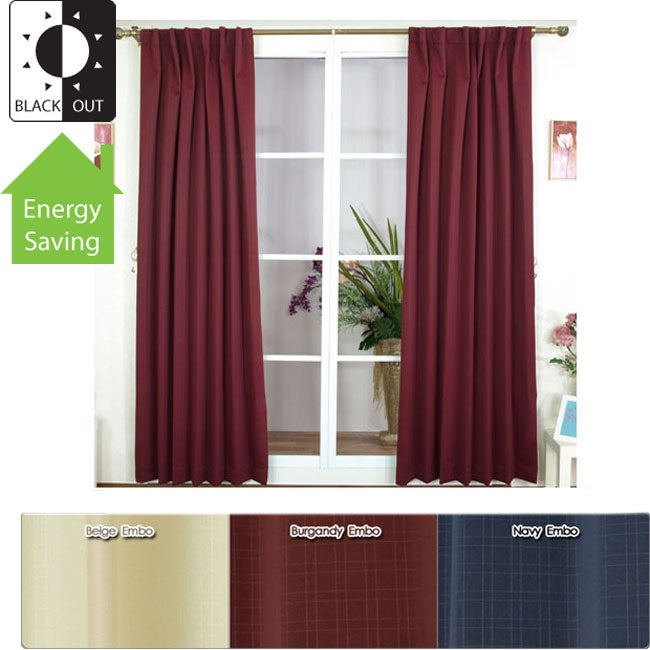 Embossed Insulated / Thermal Blackout 84- inch Curtain Pair
