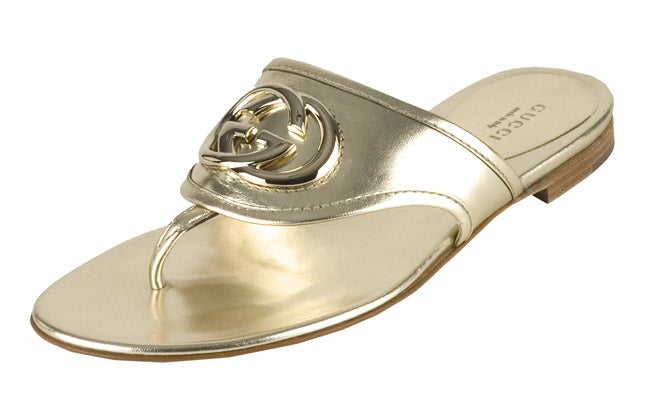 82dec5d4295 Shop Gucci  Britt  Gold Leather Thong Sandals - Free Shipping Today -  Overstock - 2953696