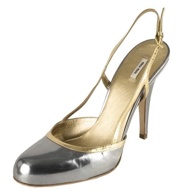 a3bc1b963bc2c Shop Miu Miu Silver Patent Leather High Heel Slingbacks - Free ...