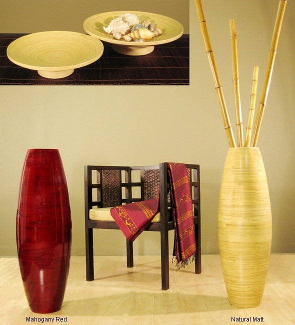 Bamboo Cylinder Floor Vase and 2 Candle Trays