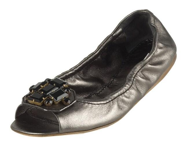fede5cc15d1db Shop Miu Miu Silver Leather Jeweled Peep Toe Flats - Free Shipping ...