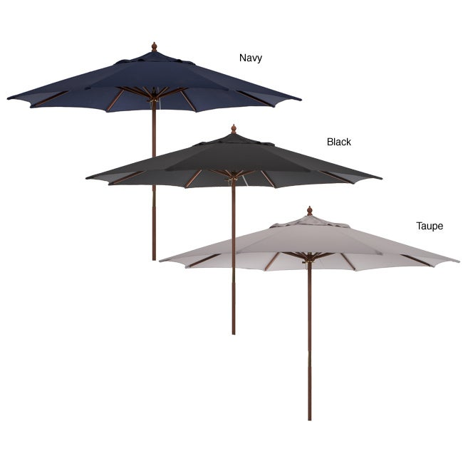 Shop 11 Foot Outdoor Umbrella With Wood Pole Free Shipping Today