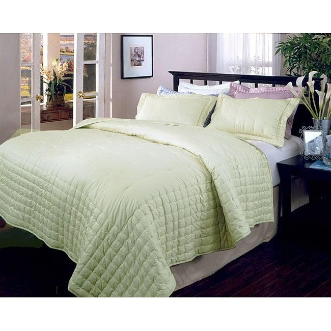 Shangri-la Sage Embroidered Comforter and Sham Set