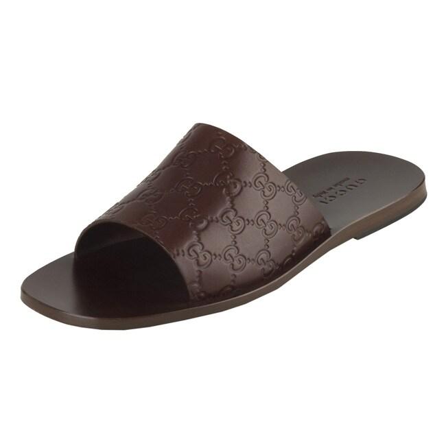 6da137af2b4608 Shop Gucci Chocolate Guccissima Leather Slide Sandals - Free ...