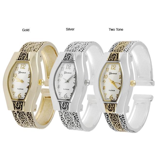 Geneva Platinum Women's Filigree Cuff Watch