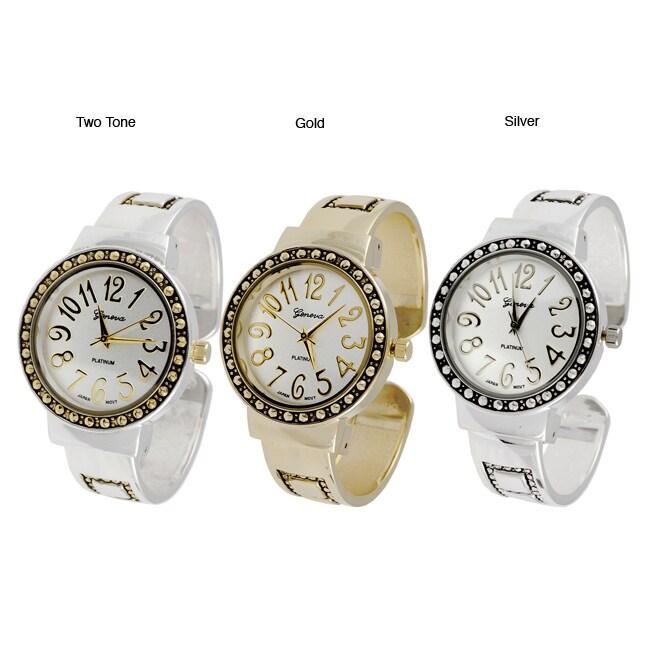 Geneva Platinum Beaded Bezel Cuff Watch