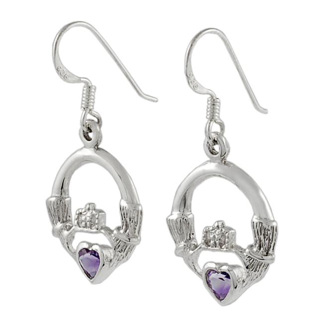 Journee Sterling Silver Claddagh Earrings with Purple Hearts