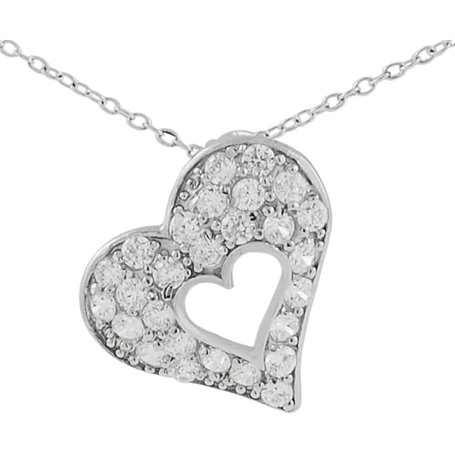 Journee Sterling Silver Heart in a CZ Pave Heart Necklace