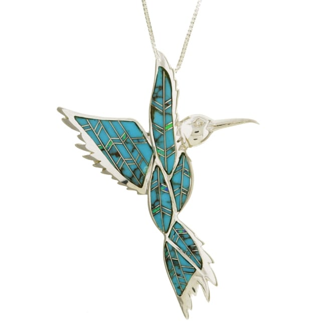 d29bd97db38a8 Silver Turquoise and Opal Hummingbird Necklace