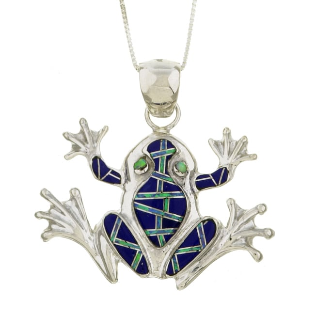 Sterling Silver Lapis and Opal Frog Necklace