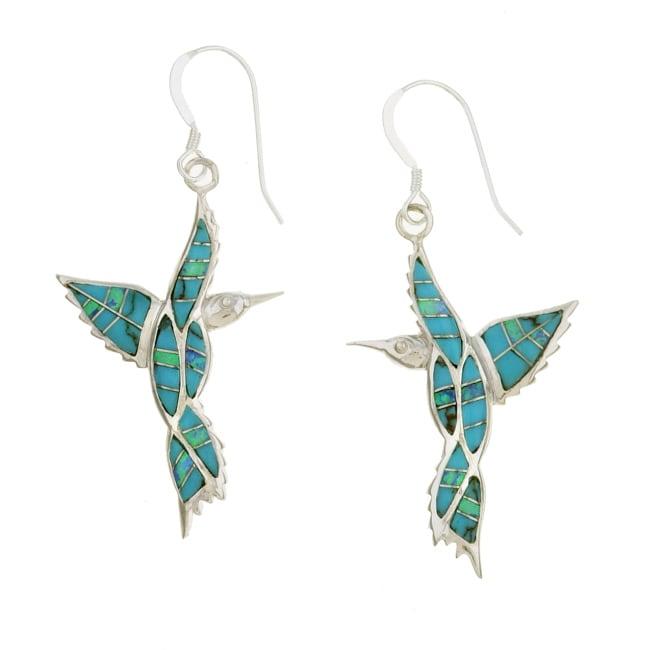 Sterling Silver Turquoise Opal Hummingbird Earrings