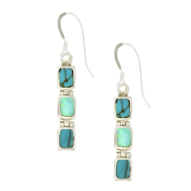 Sterling Silver Turquoise and Opal Dangle Earrings
