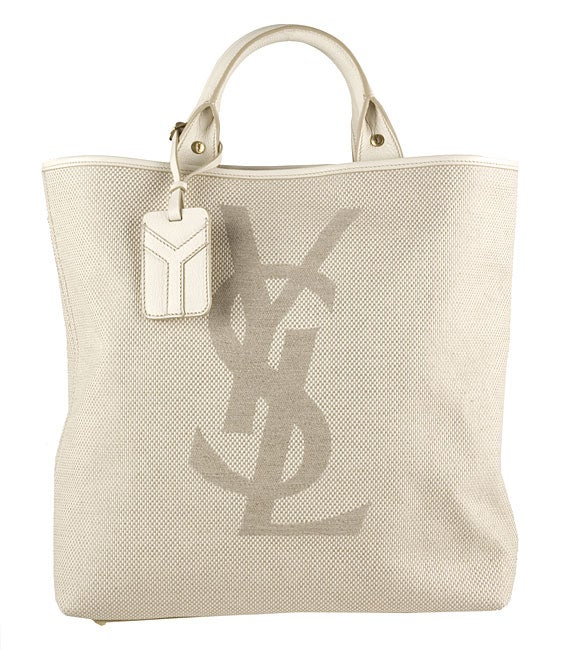 924b870ace92 Shop Yves Saint Laurent Large Cream Canvas  YSL  Tote - Free Shipping Today  - Overstock - 2979291