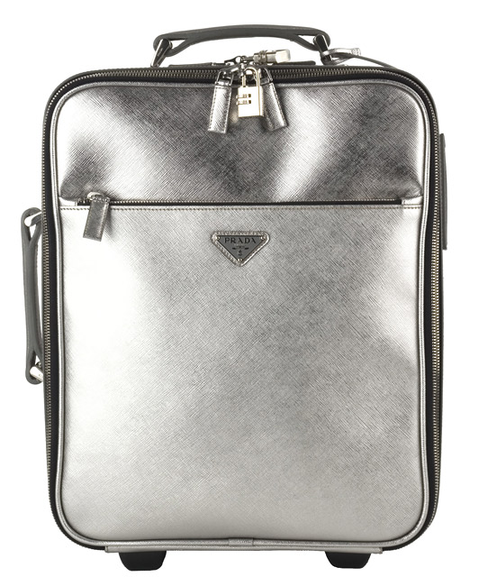 Prada Small Silver Leather Rolling Suitcase