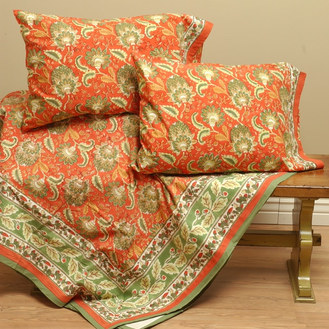 Hand Block Printed Queen Duvet Cover Set (India)