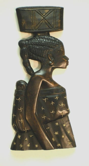 Wood African Mother Profile Wall Hanging (Ghana)