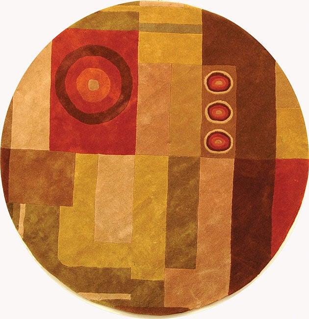 Safavieh Handmade Rodeo Drive Modern Abstract Khaki/ Rust Wool Rug (5'9 Round)