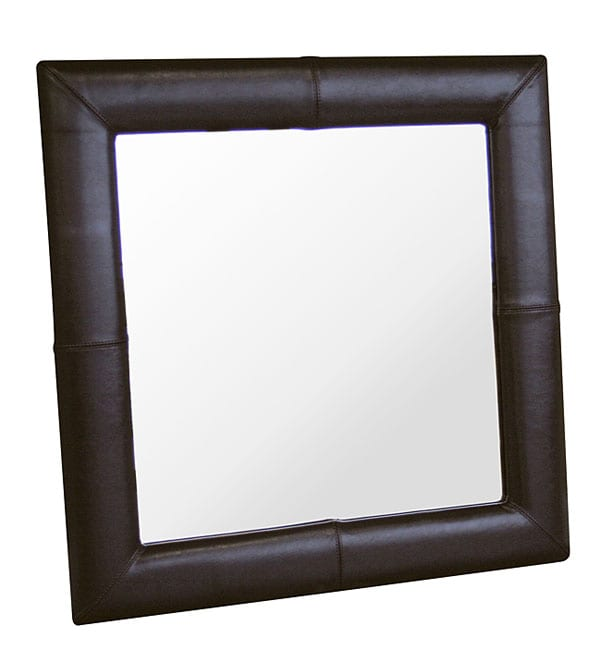 Aiken Dark Brown Bi-cast Leather Frame Mirror - Thumbnail 0