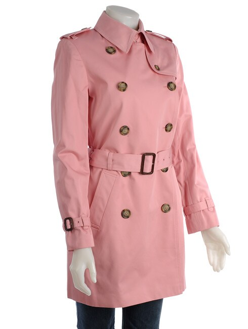 Famous Ny Maker Signature Pink Trench Coat Free Shipping