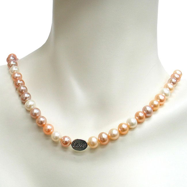DaVonna Silver Multicolor FW Pearl with Love Bead Necklace (7-8 mm)