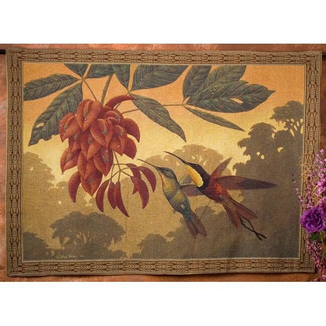 Hummingbird Flower Kisses Wall Art Tapestry