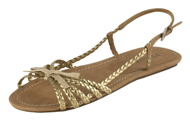 2f949ba3f14 Shop Prada Gold Leather Braided Flat Slingback Sandals - Free Shipping  Today - Overstock - 3010658